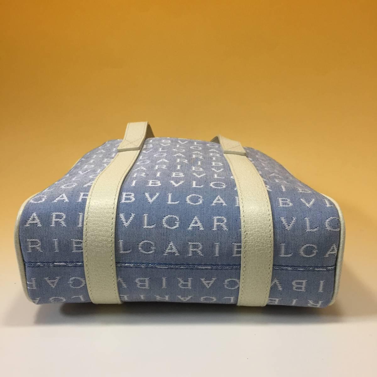 未使用◆BVLGARI◆ブルガリ ロゴマニア◆ジャガード×レザー トートバッグ ◆ブルー・白_画像5