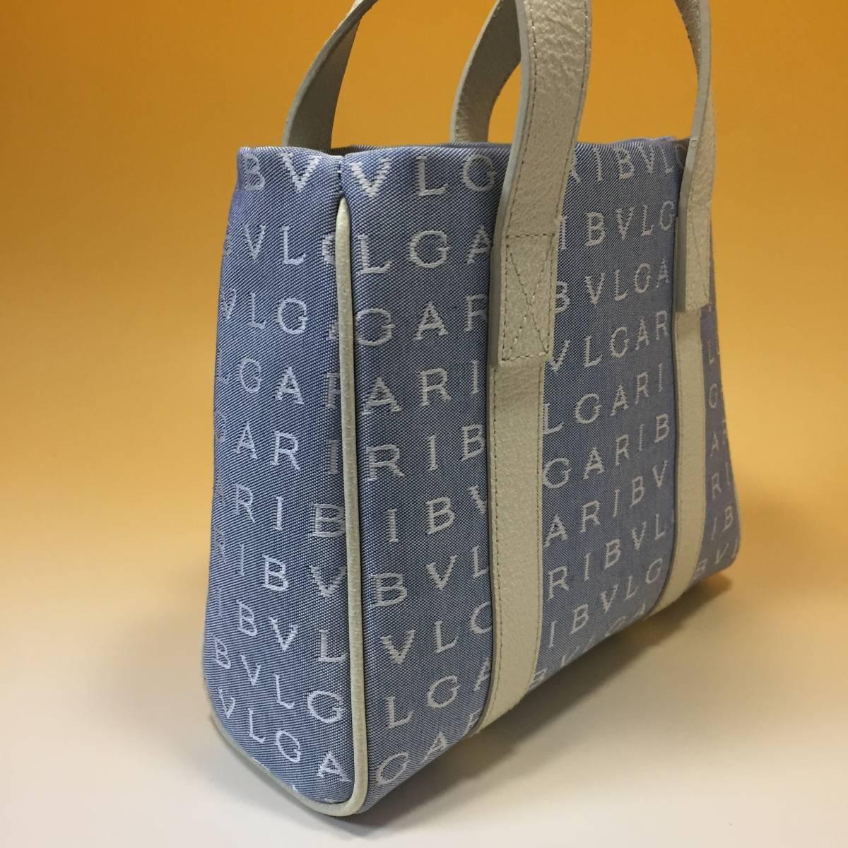 未使用◆BVLGARI◆ブルガリ ロゴマニア◆ジャガード×レザー トートバッグ ◆ブルー・白_画像2