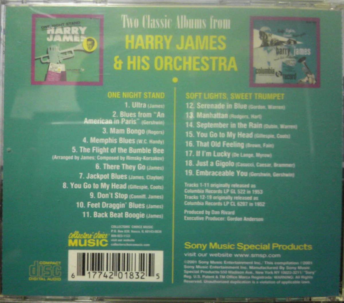 Two Classic Albums From Harry James & His Orchestra Soft Lights Sweet Trumpet / One Night Stand_画像2