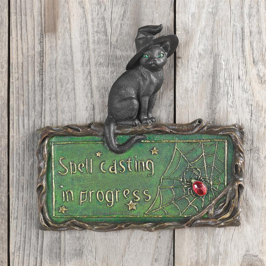 魔女の黒猫 魔法結界立ち入り禁止 壁飾りウォールデコ壁掛け猫インテリア置物オブジェファンタジー雑貨ブラックキャットホームデコ小物飾り_画像1