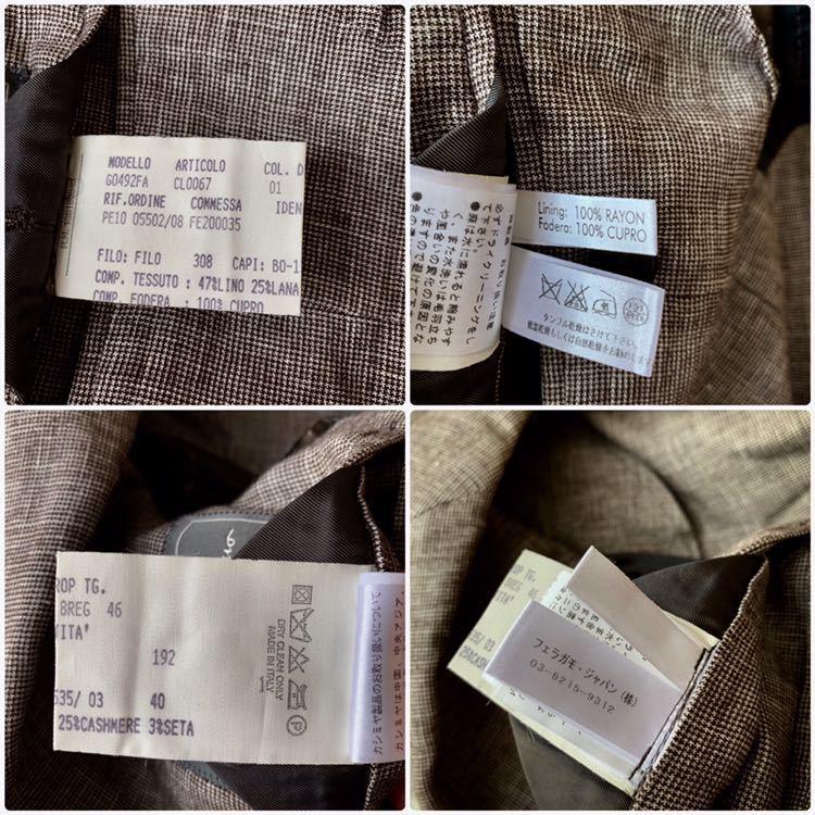363【漂うセレブ感】☆リネン×カシミヤ サルヴァトーレ・フェラガモ ☆ ジャケット イタリア製 メンズ M相当 ブラウン系 背抜き_画像7