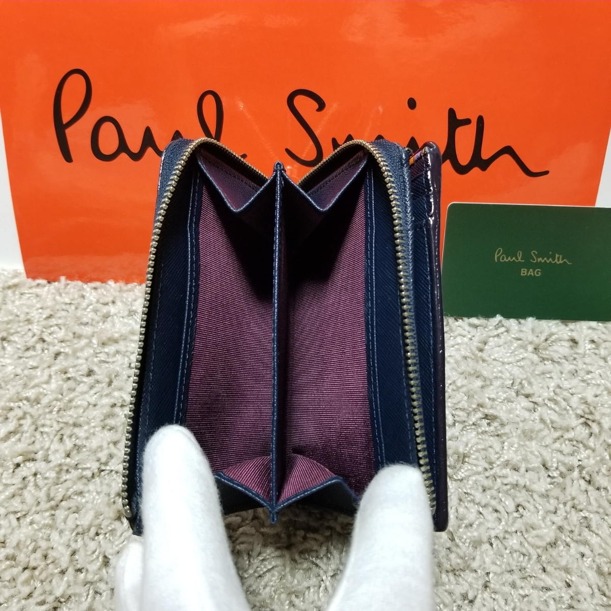 ビッグセール!良品 ポールスミス PaulSmith ジップストローグレイン 二つ折り財布 ラウンドファスナー ネイビー P865N 3582_画像10