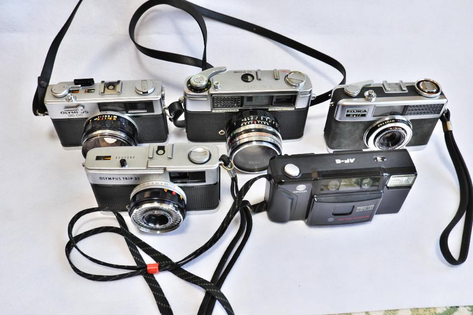 ヤシカ リンクス1000 フジカハーフ OLYMPUS TRIP35 オリンパス35DC ミノルタAF-E フィルムカメラ5台