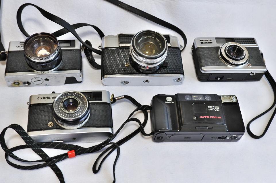 ヤシカ リンクス1000 フジカハーフ OLYMPUS TRIP35 オリンパス35DC ミノルタAF-E フィルムカメラ5台_画像2