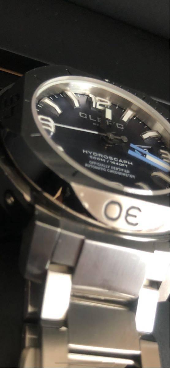 CLERC HYDROSCAPH CHRONOMETER クレール ハイドロスカフ クロノメーター 500メートル防水 自動巻き 付属:ラバーストラップ 正規店購入_画像10