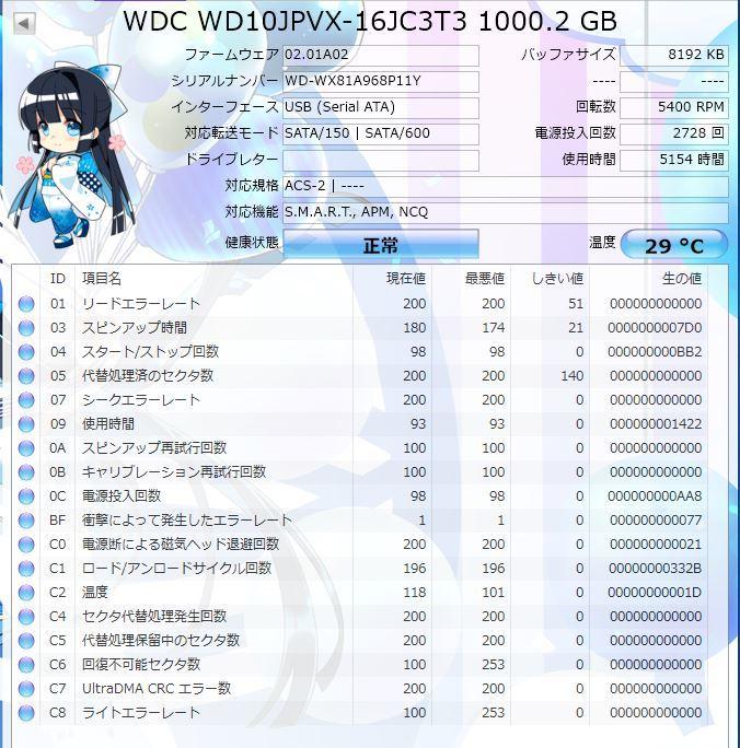 【正常動作品】中古HDD 2.5インチ SATA 1TB(1000GB) WD ハードディスク _画像2