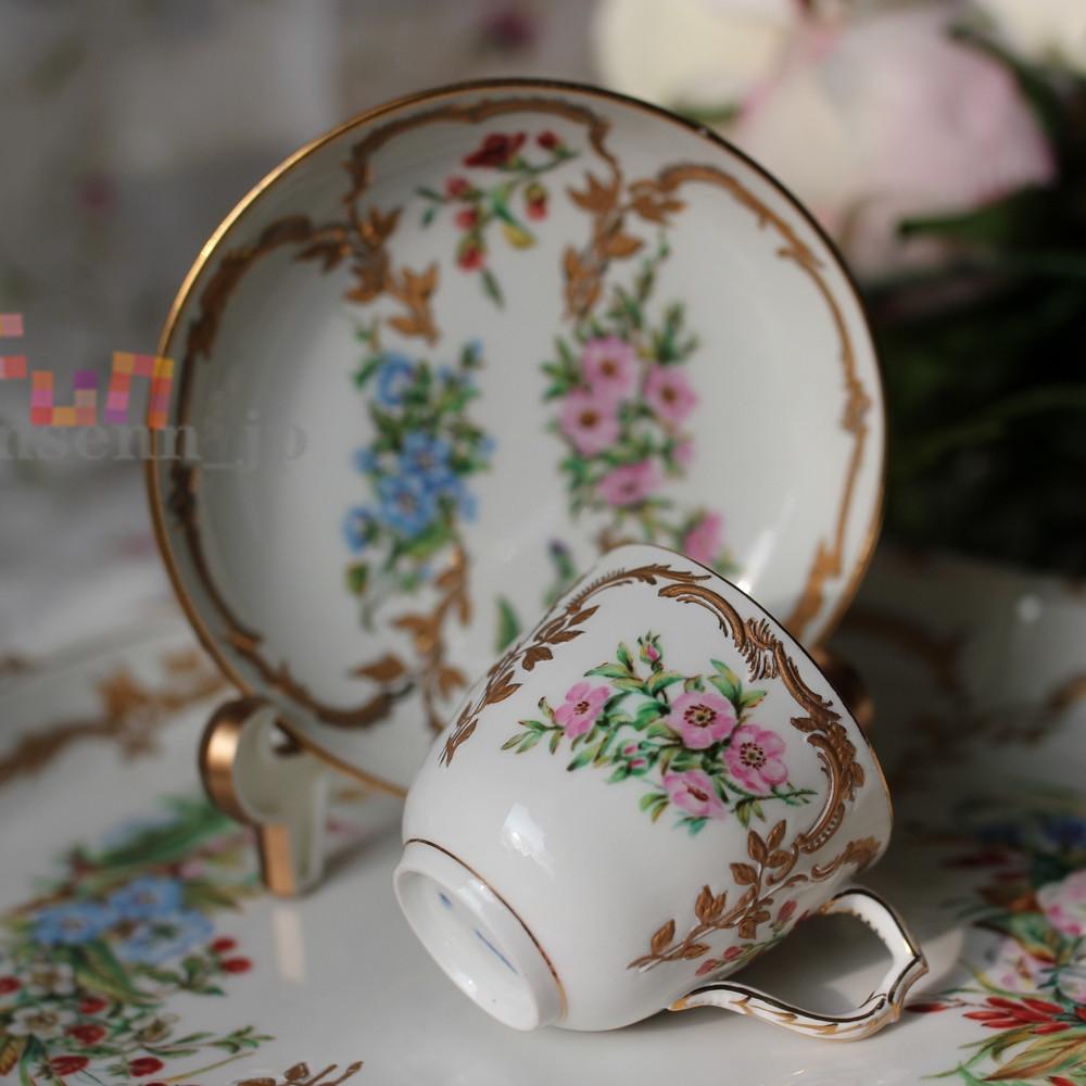 西洋磁器収蔵品◆ドイツ KPM 浮金葉藤手描き彩花 カップ&ソーサーセット 品質良い