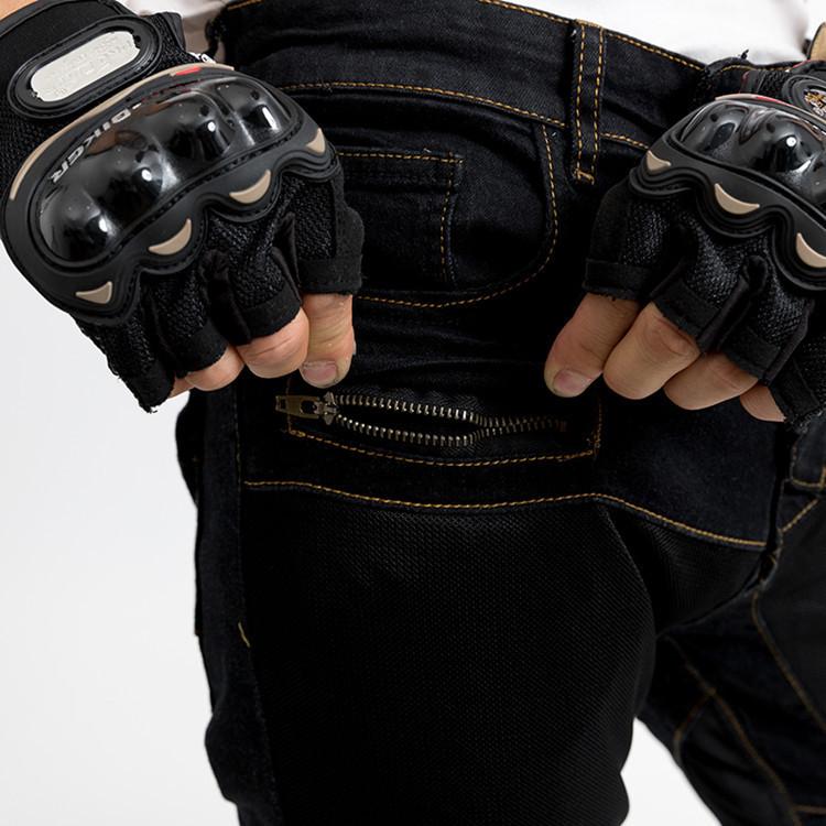1円 自動車 バイク 装備 黑 メッシュ 通気 メンズ ライダース レーシング ツーリング オールシーズン 膝用プロテクター装備付き _画像3