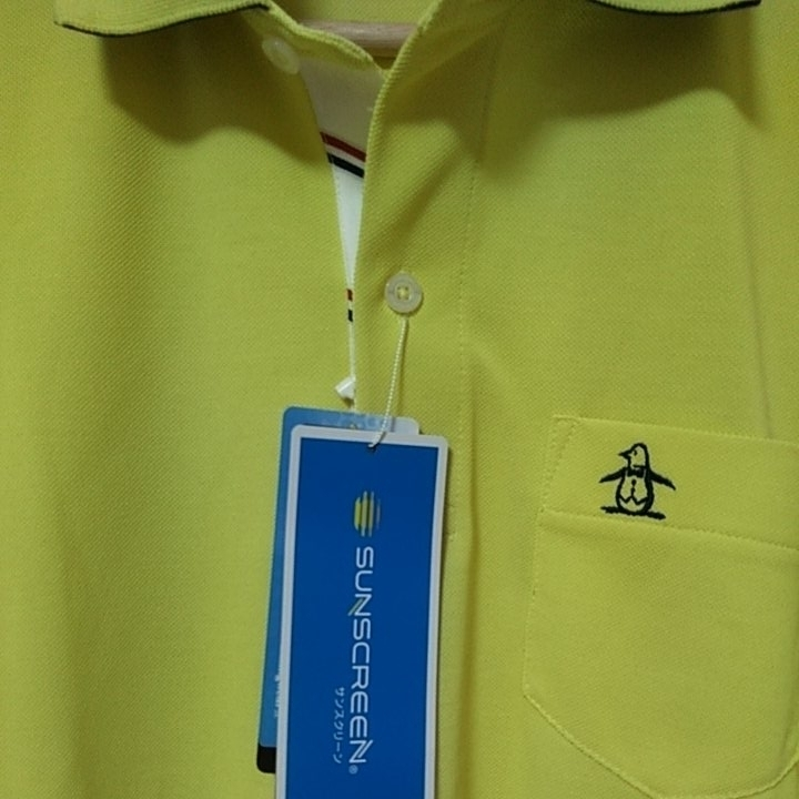 新品 定価14040 Munsingwear マンシング 半袖 ポロシャツ 3L イエロー MOTION3D サンスクリーン ファインドライ UVカット 吸汗 速乾 _画像3