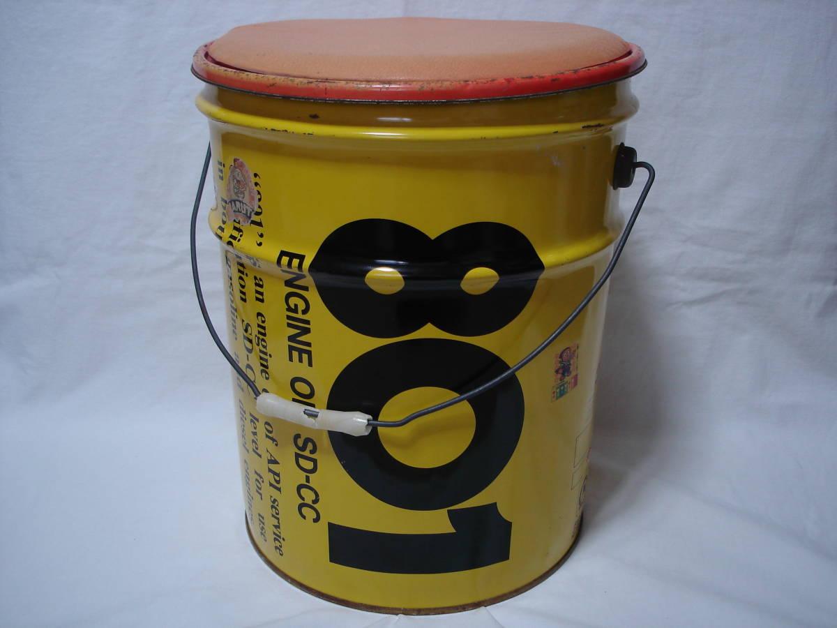 味のあるカーガレージ★エンジンオイル801★ブリキ製20Lペール缶・ダスト缶/蓋付き_画像1