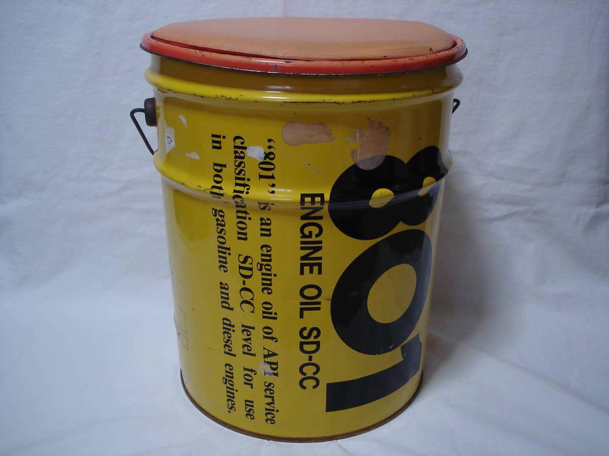 味のあるカーガレージ★エンジンオイル801★ブリキ製20Lペール缶・ダスト缶/蓋付き_画像3
