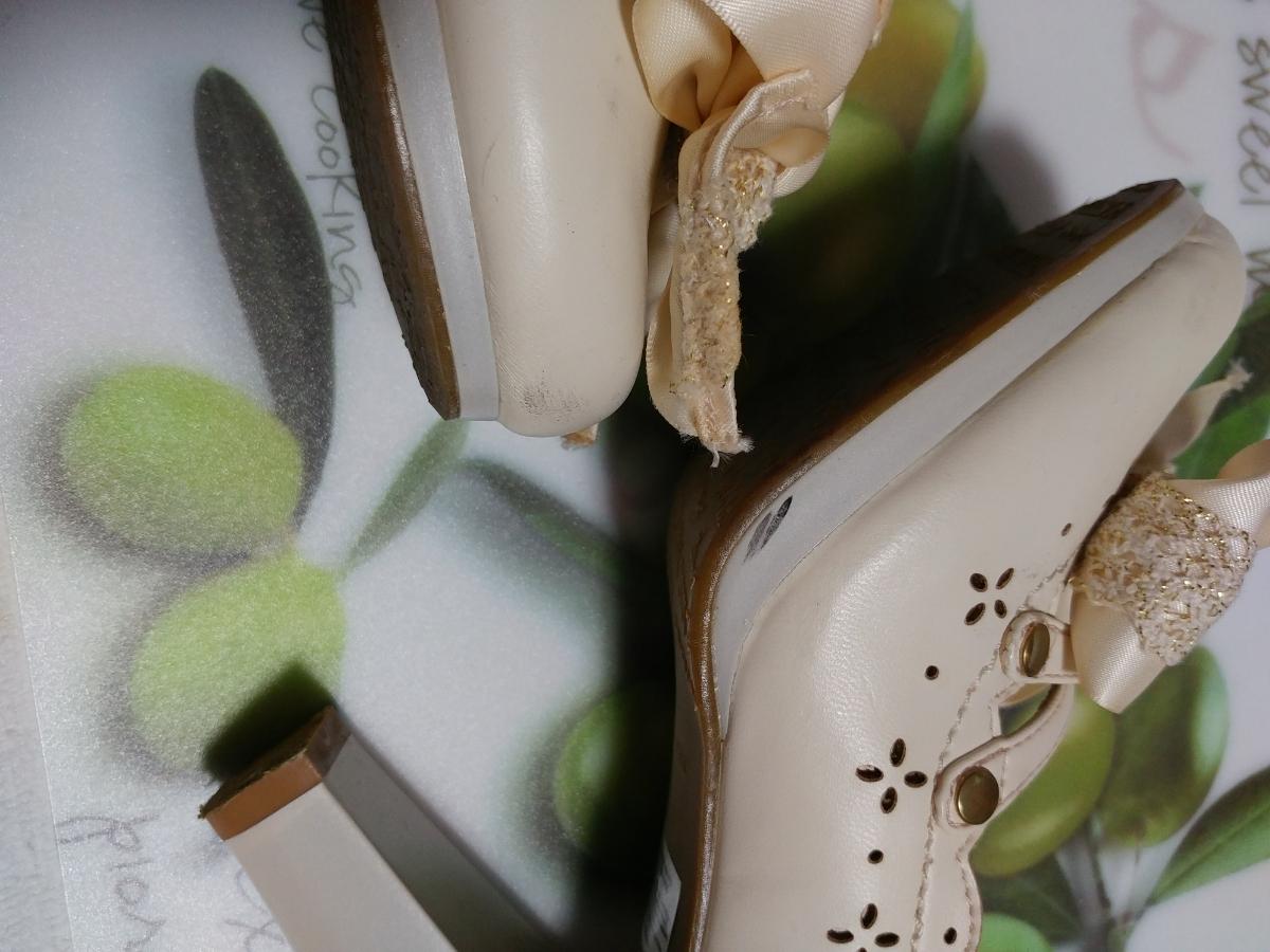 リズリサ LIZ LISA クリーム色のリボンヒール