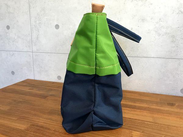 新品14040円★マンシング カラーコンビ ボストントートバッグ 紺/グリーン_画像3