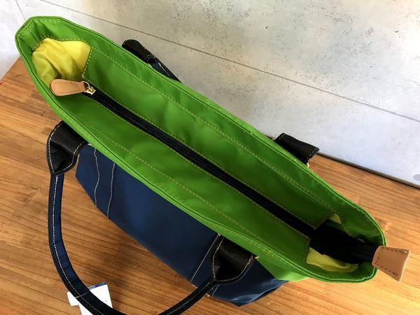 新品14040円★マンシング カラーコンビ ボストントートバッグ 紺/グリーン_画像4