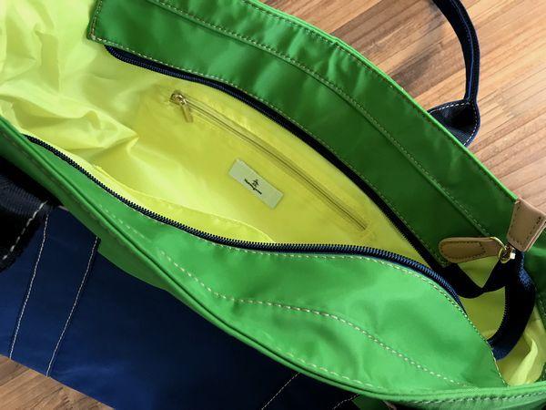 新品14040円★マンシング カラーコンビ ボストントートバッグ 紺/グリーン_画像5