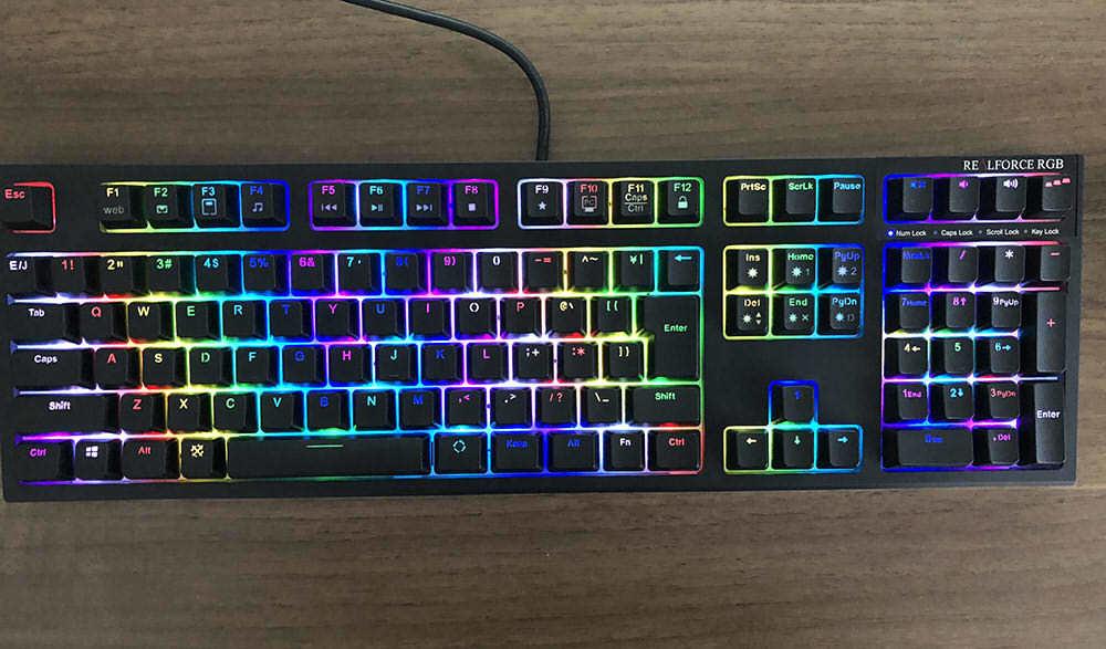 送料無料 美品 東プレ AEAX02 REALFORCE RGB(ブラック) 有線キーボード 日本語配列_画像3