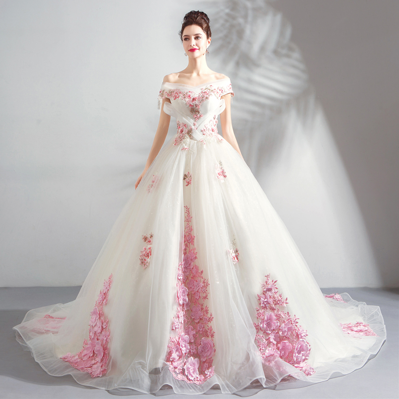 素敵 TS7698 ウェディングドレス カラードレス ピンク飾り 二次会 お色直し 結婚式 花嫁 プリンセスタイプ パニエ トレーン
