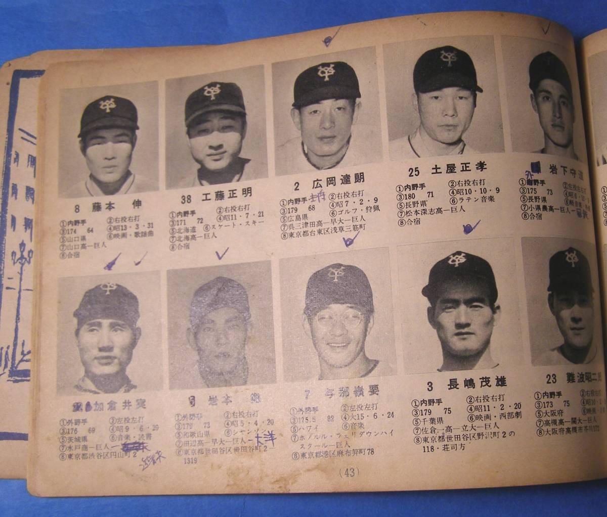 レア 1958年 プロ野球 一軍 二軍 全 選手 写真名鑑 長嶋 茂雄 ルーキー_画像2
