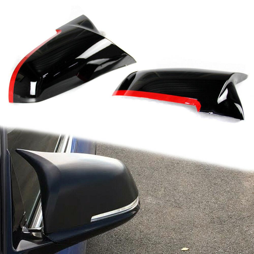 BMW 1 2 3 4シリーズ ドアミラーカバーF20 F21 F22 F23 F87 F30 F31 F34 F32 F33 F36 E84 艶有黒+レッドライン交換式 _画像3