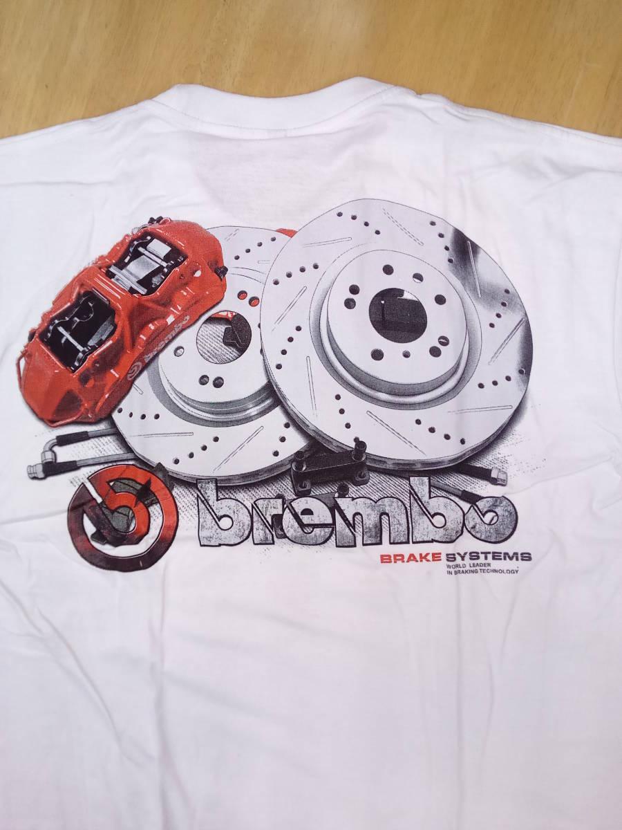 Tシャツ XLサイズ 白 Brembo 2 ブレーキ キャリパー ワイルドスピード ムーンアイズ ホットロッド カスタムカー 希少 _画像3
