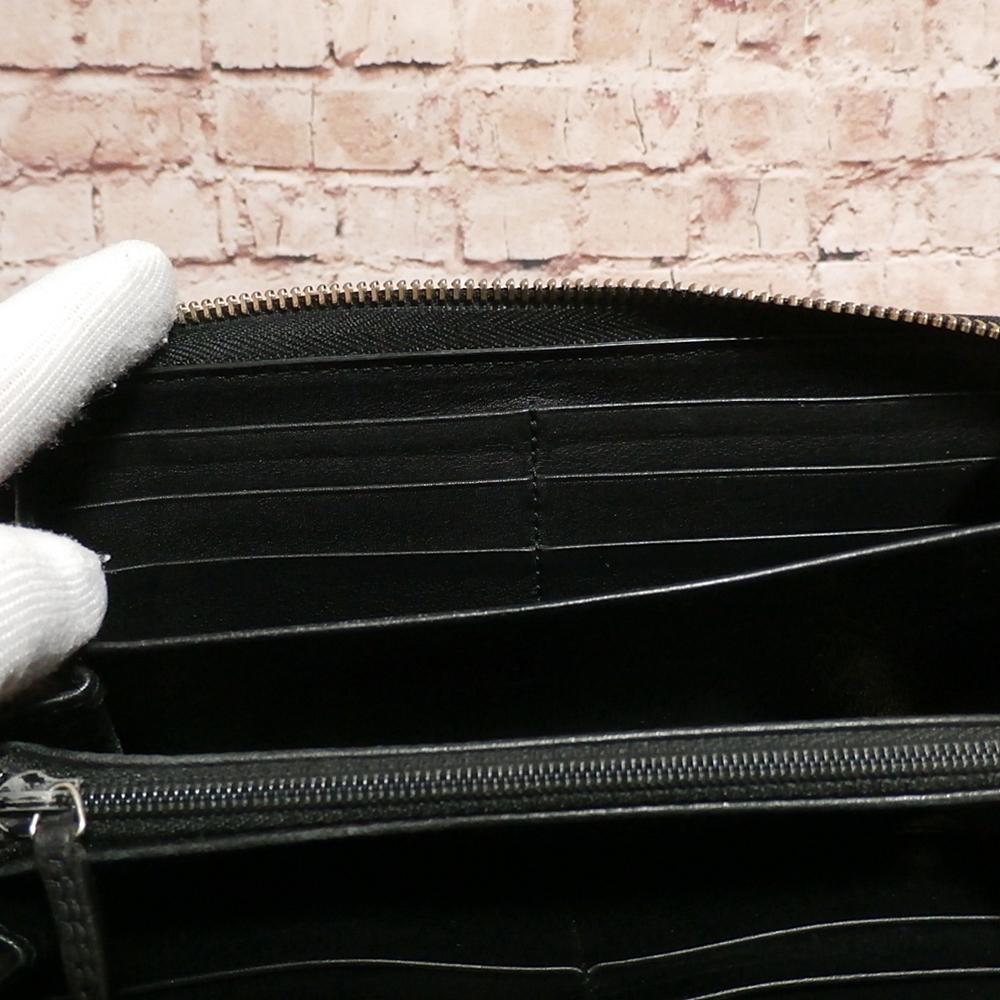 【GUCCI 良好】 グッチ 正規品 男女兼用◆ レザー ラウンドファスナー長財布 ウォレット シマ 小銭入れ カード入れ12 黒 保存箱_画像9
