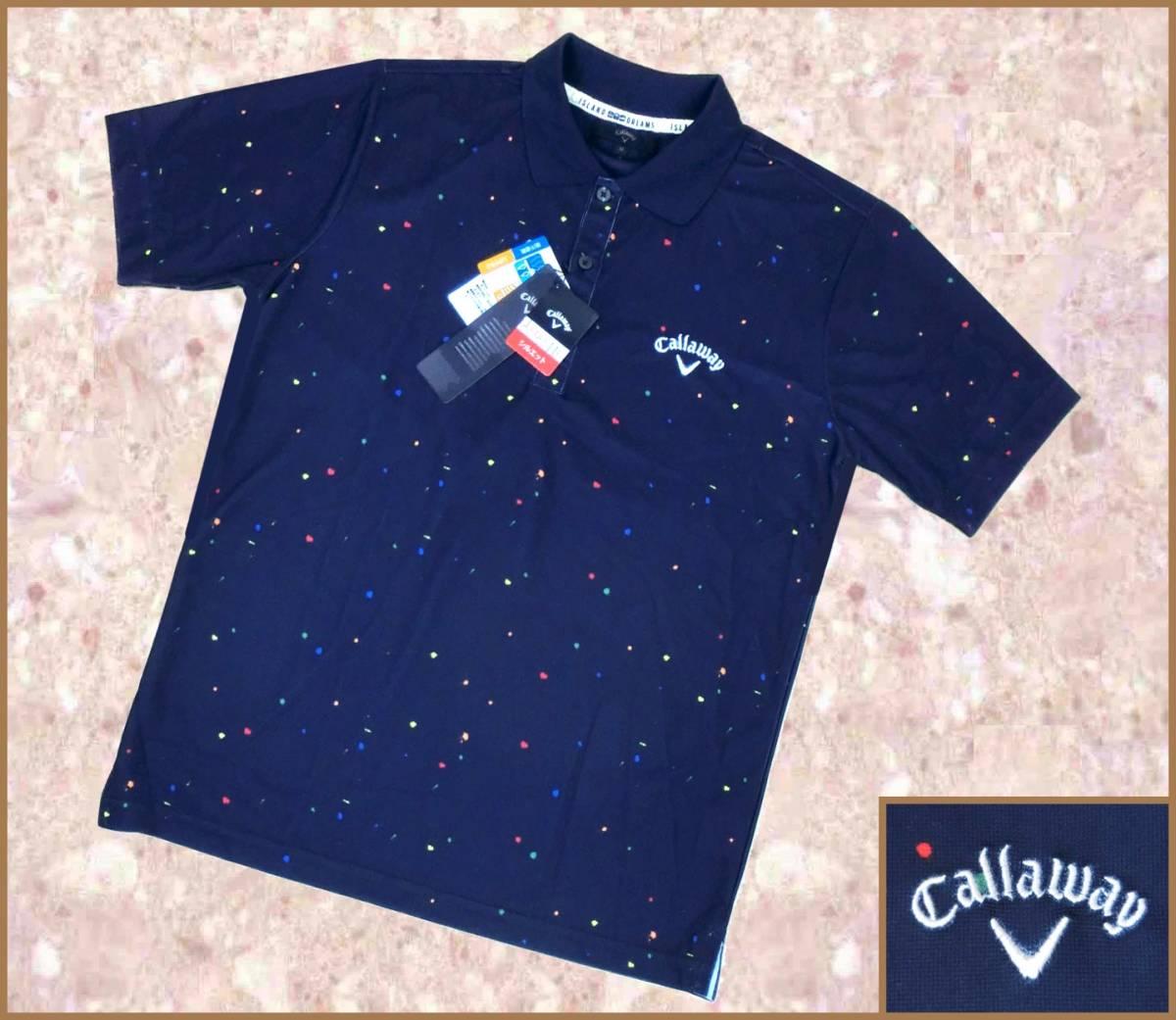 [正規品新品]Callawayキャロウェイアパレルゴルフシャツ■半袖ポロUVカット吸汗速乾■M紺ネイビー定価:10,260円■ISLAND DREAMS