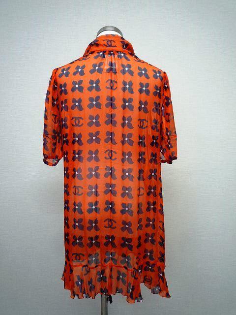 CHANEL シャネル シルク シフォン 薄手 ブラウス 大きな ココマーク CCロゴ お花 オレンジ×ネイビー 大きめ サイズ 42_4