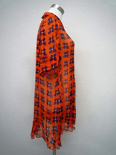 CHANEL シャネル シルク シフォン 薄手 ブラウス 大きな ココマーク CCロゴ お花 オレンジ×ネイビー 大きめ サイズ 42_3