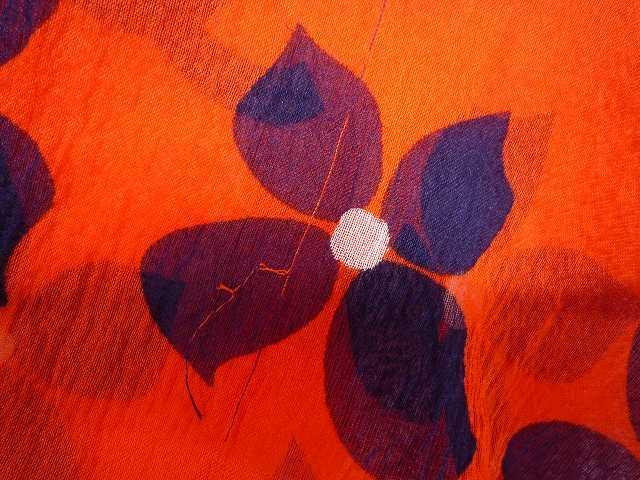 CHANEL シャネル シルク シフォン 薄手 ブラウス 大きな ココマーク CCロゴ お花 オレンジ×ネイビー 大きめ サイズ 42_9.糸のヒキツレ