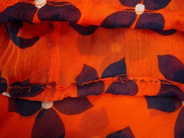 CHANEL シャネル シルク シフォン 薄手 ブラウス 大きな ココマーク CCロゴ お花 オレンジ×ネイビー 大きめ サイズ 42_10.袖口
