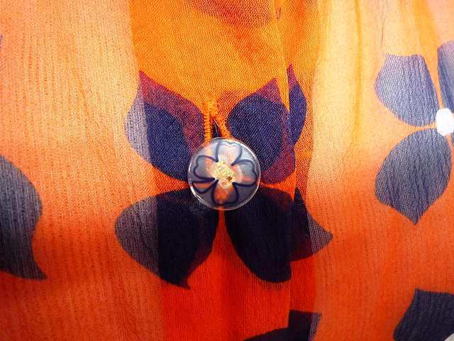 CHANEL シャネル シルク シフォン 薄手 ブラウス 大きな ココマーク CCロゴ お花 オレンジ×ネイビー 大きめ サイズ 42_5