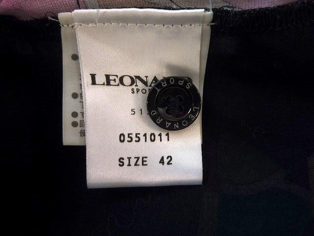 ☆LEONARD SPORT レオナール スポーツ シャツ ブラウス 花柄 ブラック系 大きいサイズ _付属ボタン1個