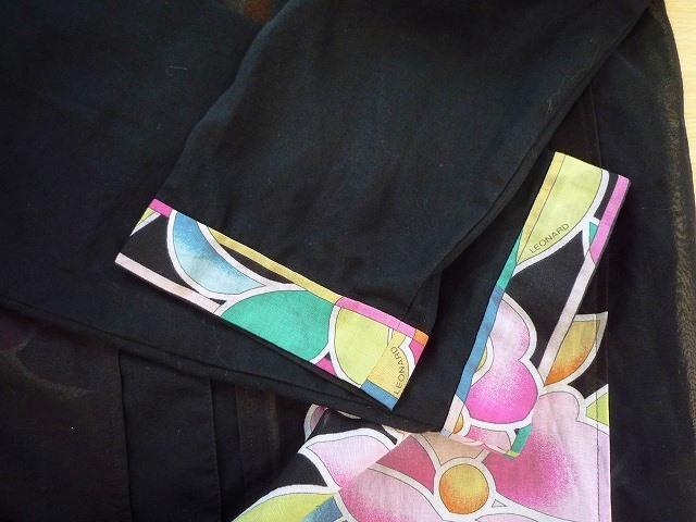 ☆LEONARD SPORT レオナール スポーツ シャツ ブラウス 花柄 ブラック系 大きいサイズ _袖口