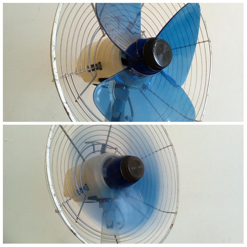 動作品 昭和レトロ SANYO サンヨー 三洋 扇風機 普及型卓上扇 ブルー 3枚羽根 EF-6NA 羽根経 29cm インテリア ディスプレイ _画像5