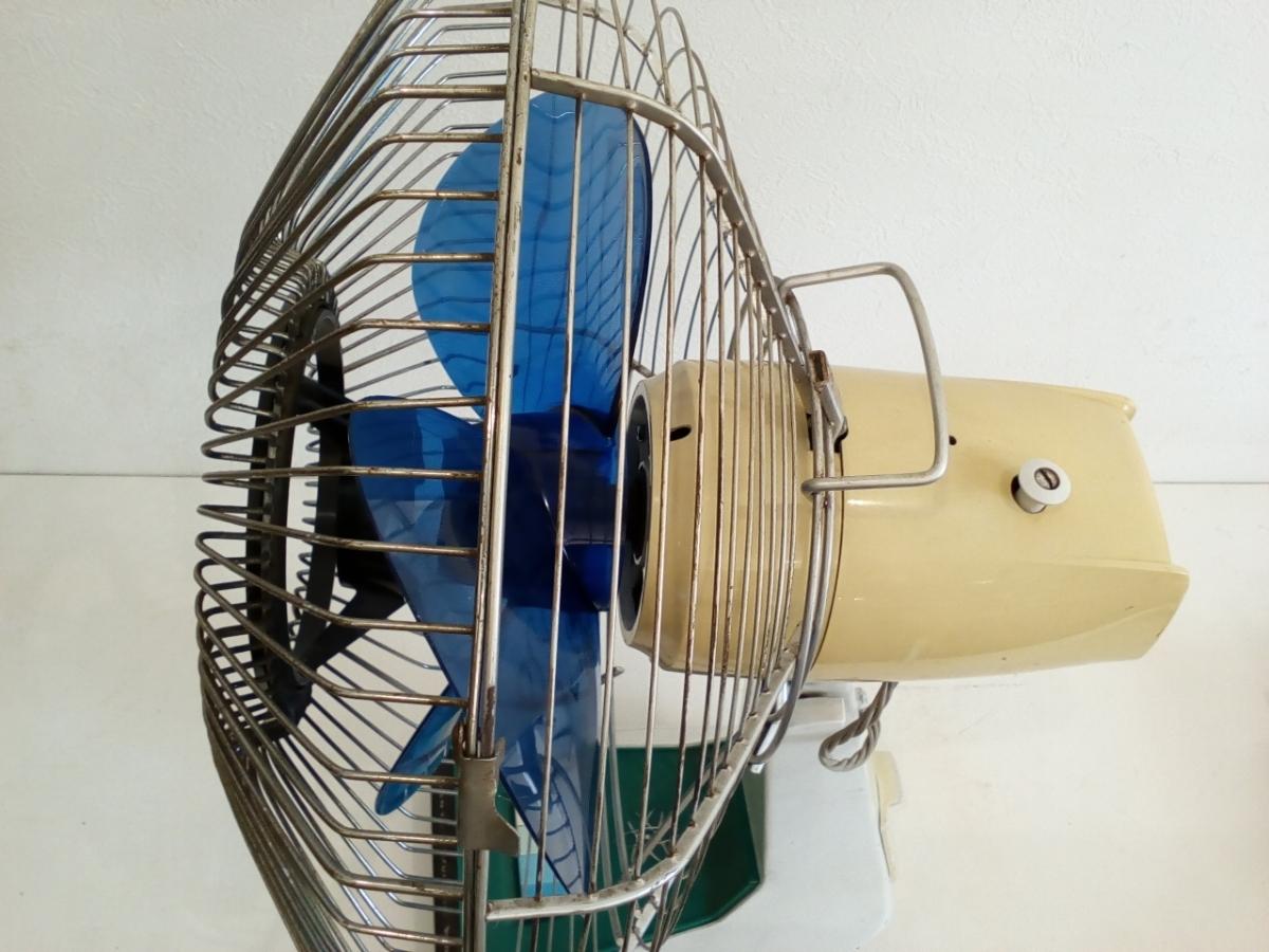 動作品 昭和レトロ SANYO サンヨー 三洋 扇風機 普及型卓上扇 ブルー 3枚羽根 EF-6NA 羽根経 29cm インテリア ディスプレイ _画像7