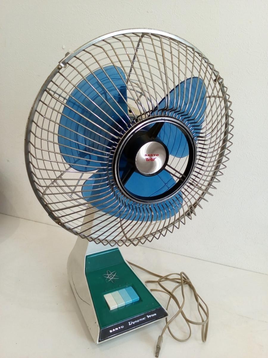 動作品 昭和レトロ SANYO サンヨー 三洋 扇風機 普及型卓上扇 ブルー 3枚羽根 EF-6NA 羽根経 29cm インテリア ディスプレイ