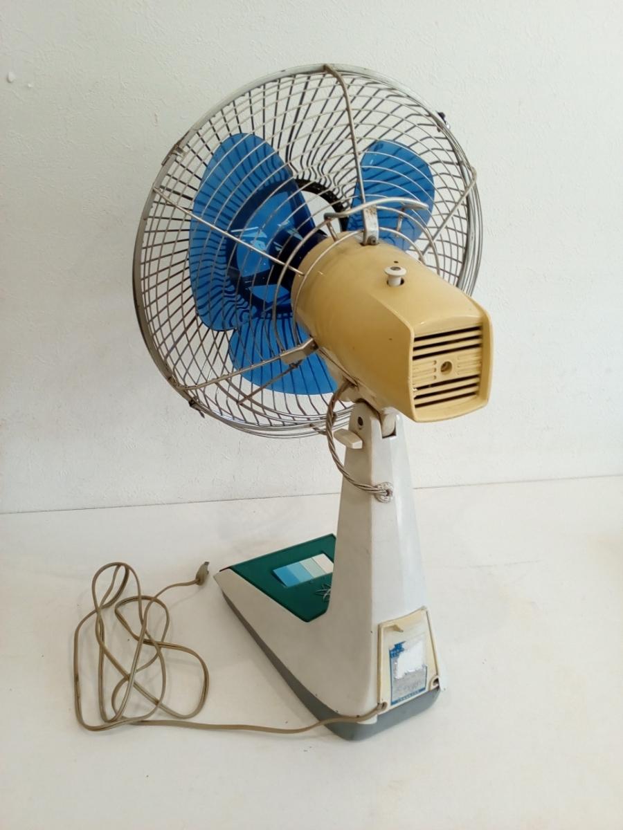 動作品 昭和レトロ SANYO サンヨー 三洋 扇風機 普及型卓上扇 ブルー 3枚羽根 EF-6NA 羽根経 29cm インテリア ディスプレイ _画像6