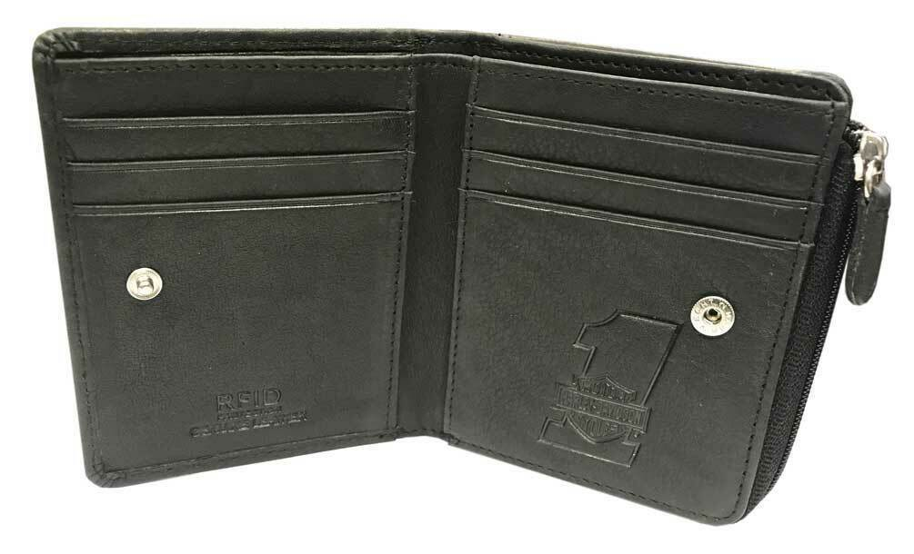 U151 Harley Davidson Mens Currency Coin Leather Slimfold Zip Wallet Black ハーレーダビッドソン メンズ ウォレット レザーウォレット_画像2