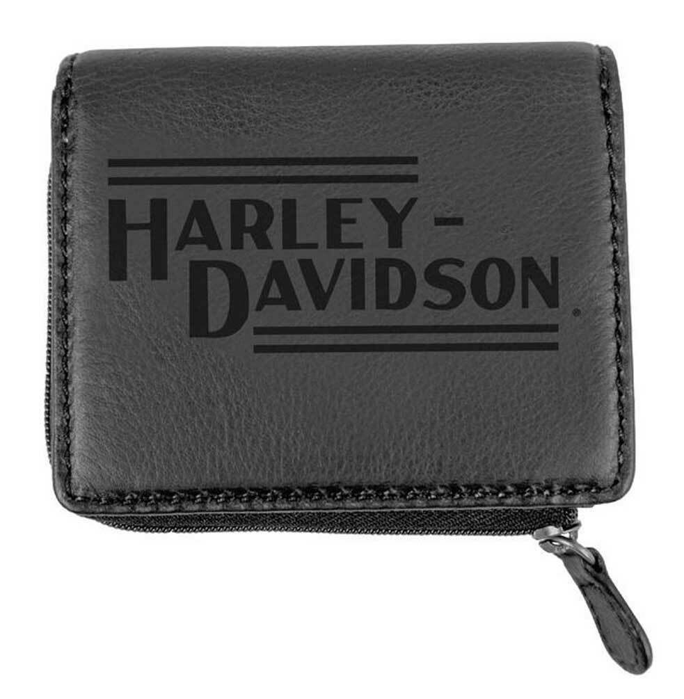 U151 Harley Davidson Mens Currency Coin Leather Slimfold Zip Wallet Black ハーレーダビッドソン メンズ ウォレット レザーウォレット_画像1
