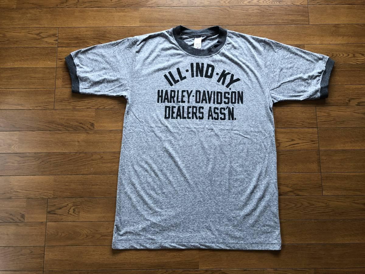 新品●ハーレーダビッドソン ロゴ モーターサイクル ビンテージスタイル 霜降り リンガーTシャツ[XL]●HARLEY DAVIDSON/MOTORCYCLES_画像1
