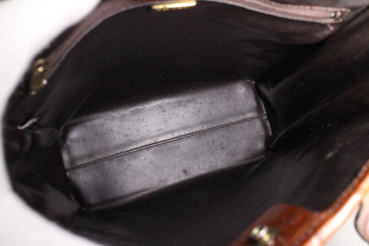 【バリー/BALLY本物】2WAYバッグ/ビンテージ/ハンドバッグ/ショルダー/クロコ柄レザー/革/レディース/ブラウン/茶【B328N_画像6