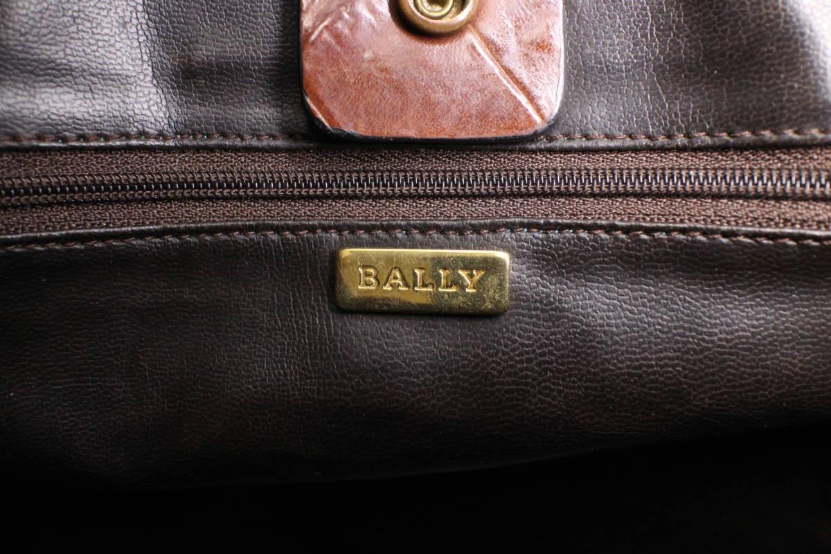 【バリー/BALLY本物】2WAYバッグ/ビンテージ/ハンドバッグ/ショルダー/クロコ柄レザー/革/レディース/ブラウン/茶【B328N_画像7