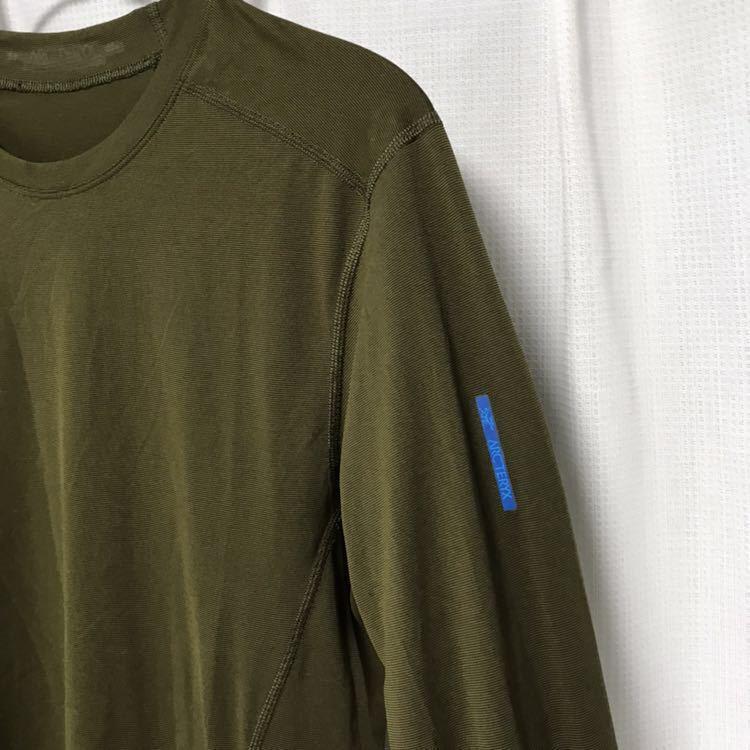 ARCTERYX 吸水速乾長袖Tシャツ S カーキ ロンT カットソー アンダーシャツ 登山 キャンプ フェス 釣り アウトドア アークテリクス_画像2
