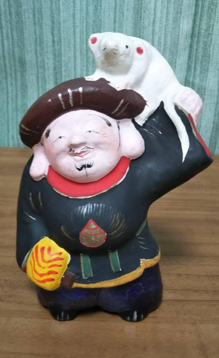 郷土玩具 中野土人形 奈良久雄作 「ねずみ(甲子)大黒」と「鯛乗りえびす」【入手困難】_画像2