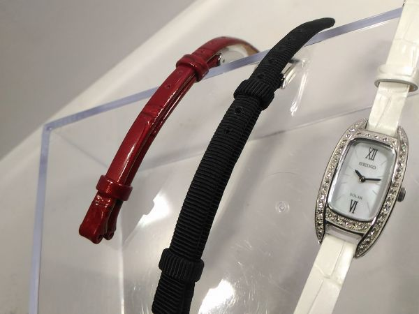 【1円 スワロフスキー 3色バンド 真珠パールの輝き SOLAR】ソーラー SEIKO セイコー 女性 レディース 新品 逆輸入 海外限定 腕時計 未発売_画像6