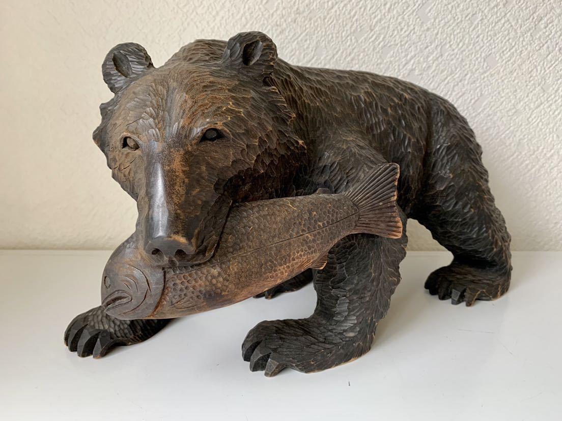 【送料込み】木彫りの熊 あらき作 アイヌ 熊の置物_画像2