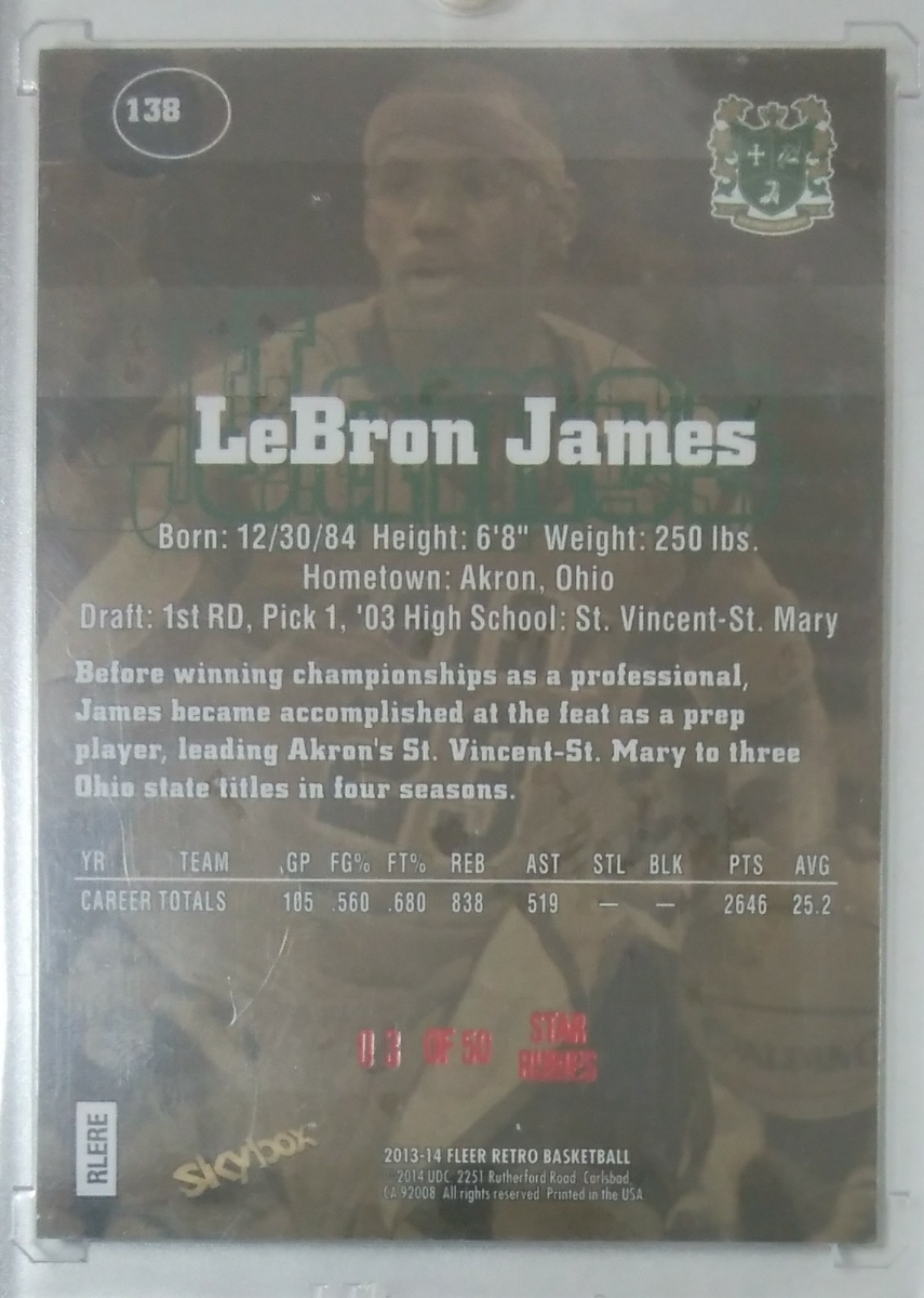 13-14 FLEER RETRO 97-98 Skybox Premium STAR RUBIES LeBRON JAMES/50_画像2