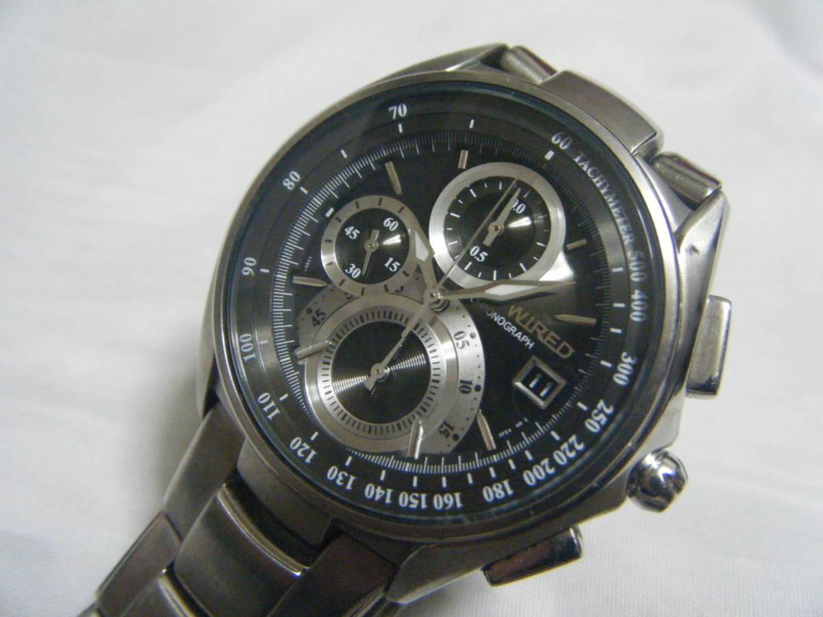 セイコー WIRED ワイアード チタン メンズクロノグラフ腕時計 7T92-0ER0
