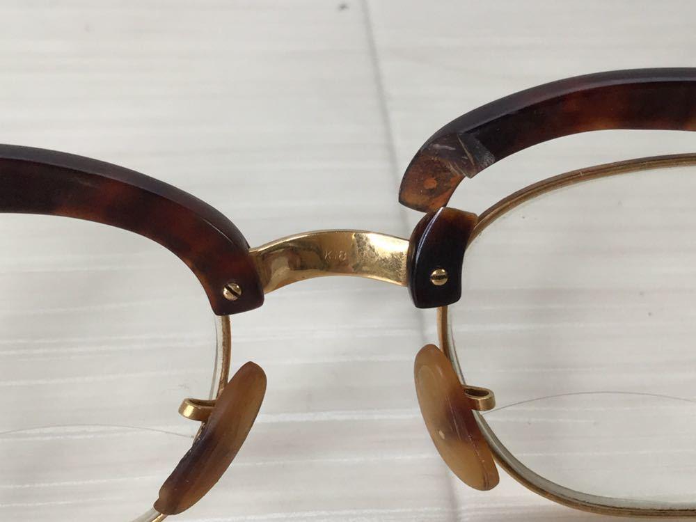 60s 鼈甲 べっ甲 べっこう メガネ 眼鏡 めがね 眼鏡フレーム 金 k18 18金 ゴールド 茶 総重量 約44g_画像6