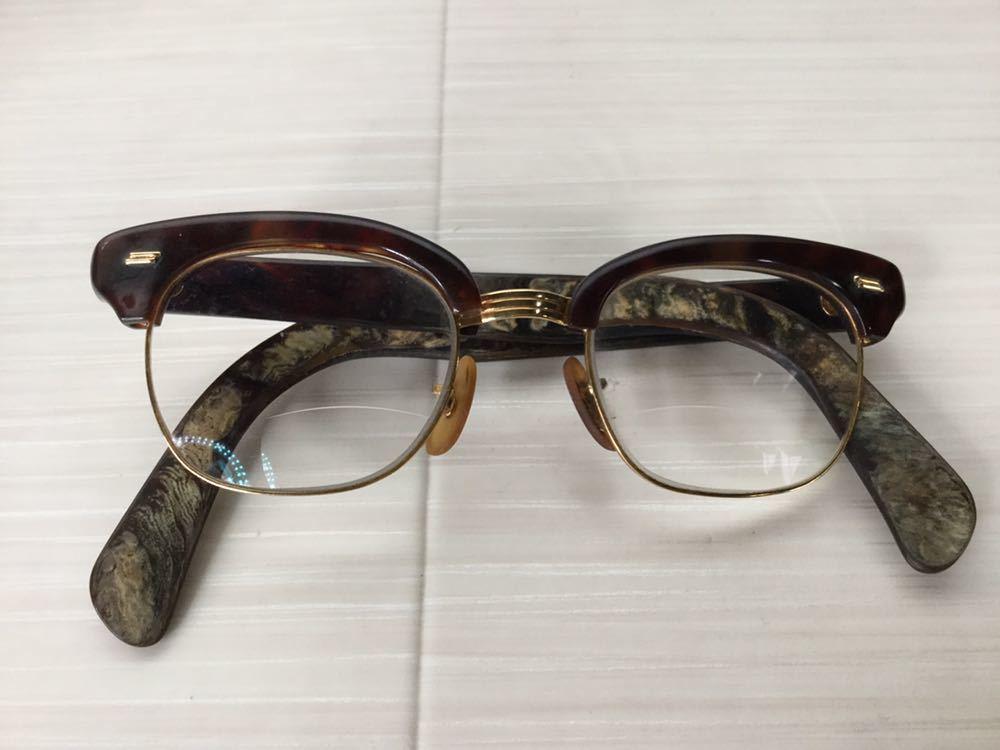 60s 鼈甲 べっ甲 べっこう メガネ 眼鏡 めがね 眼鏡フレーム 金 k18 18金 ゴールド 茶 総重量 約44g